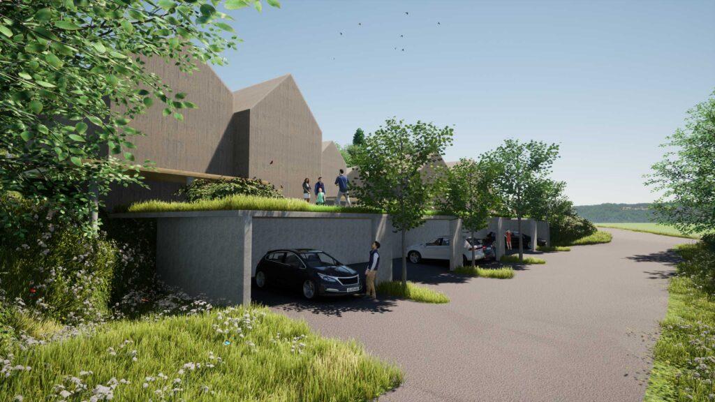 Blick von Süd-West an Parkierung