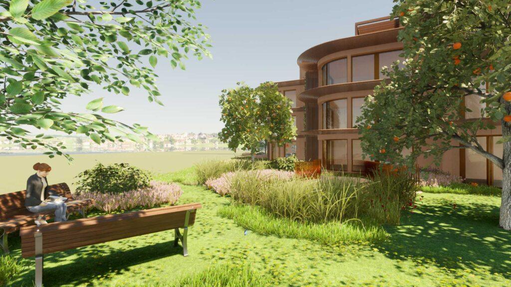 Ruhezone in Gartenanlage
